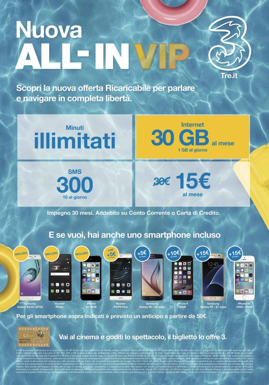 30 Giga al mese, minuti illimitati e smartphone a 15 euro al mese? Solo con Tre!
